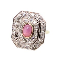 Platinum and 14kt Gold Edwardian Star Ruby and Old European Cut Diamond Ring