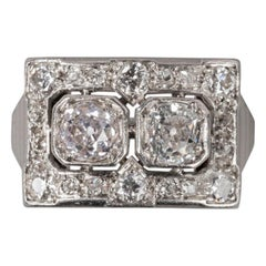 Platinum and 1.5 Carat Diamonds  French Art Deco Ring