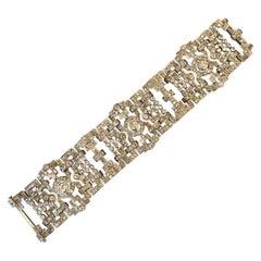 Platinum and 15 Carats Diamonds French Art Deco Bracelet