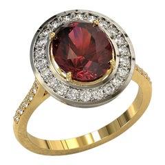 Platinum and 18 Carat Gold 4.32 Carat Rhodolite and Diamonds Cocktail Ring