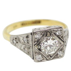 Platinum and 18 Carat Gold Art Deco Diamond Engagement Ring