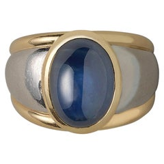 Platinum and 18 Carat Gold Ring with a Cabochon Sapphire