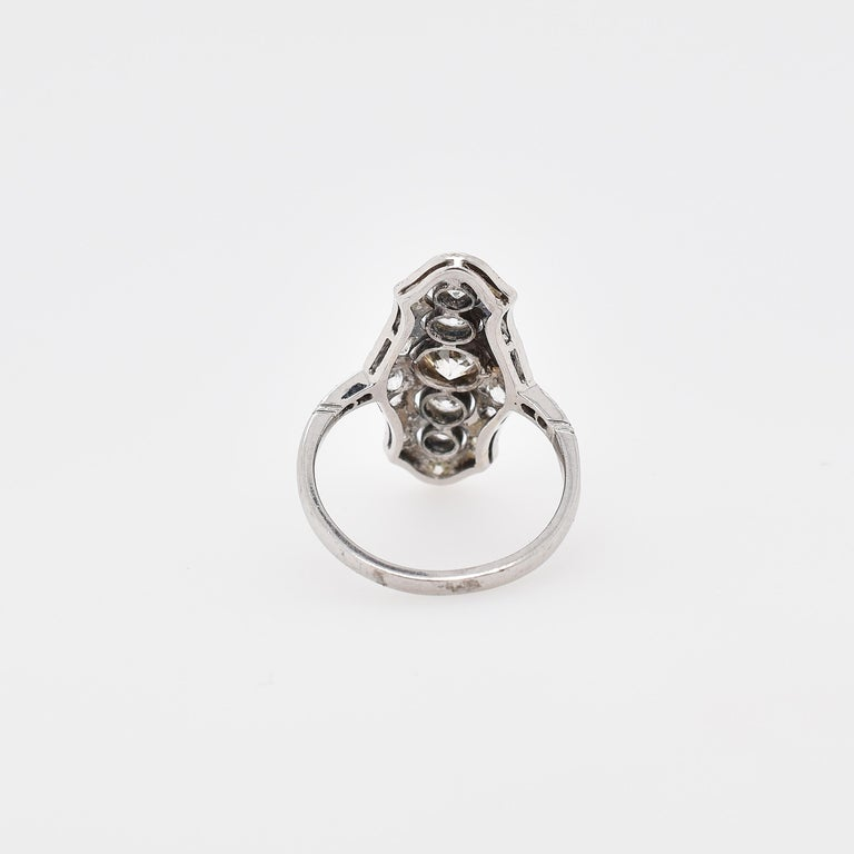 Old Mine Cut Platinum and 18 Carat White Gold Art Deco Old Cut Diamond Plaque Ring For Sale