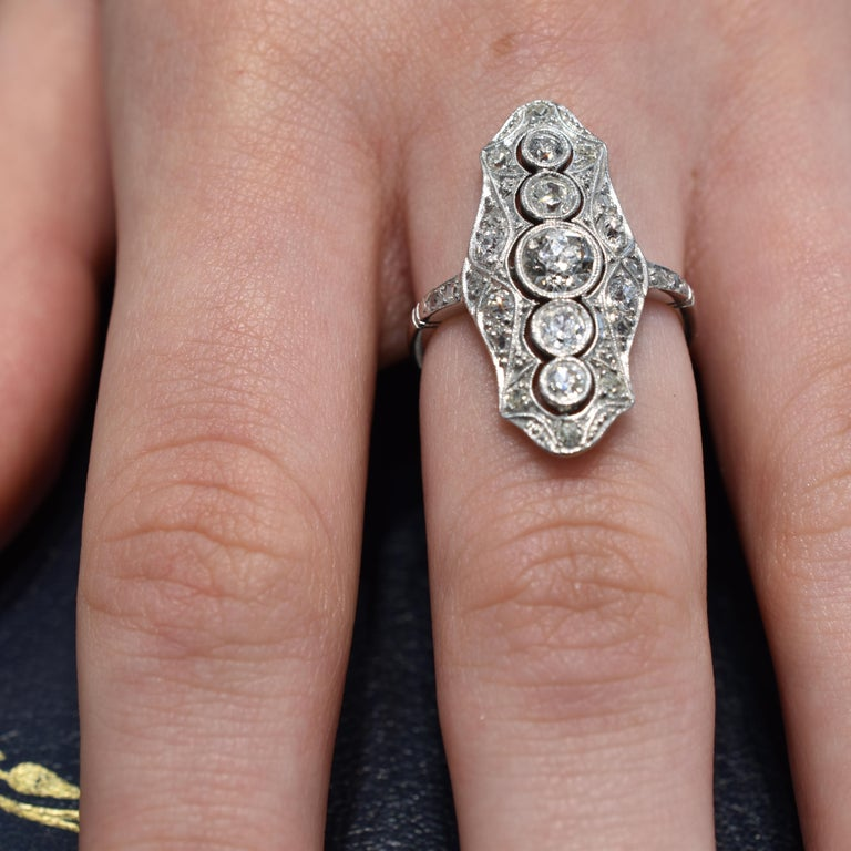 Platinum and 18 Carat White Gold Art Deco Old Cut Diamond Plaque Ring In Good Condition For Sale In Armadale, Victoria