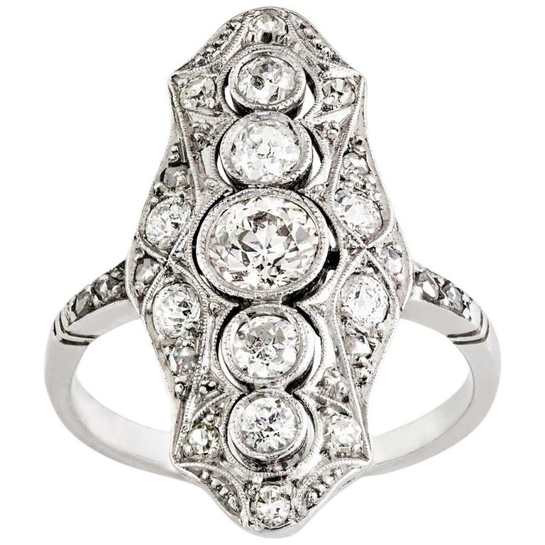 Platinum and 18 Carat White Gold Art Deco Old Cut Diamond Plaque Ring For Sale