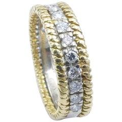 Platinum and 18 Carat Yellow Gold Diamond Dress or Wedding Ring