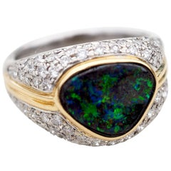 Platinum and 18 Karat Gold Boulder Opal and Pave Round Brilliant Diamond Ring