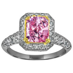 Platinum and 18 Karat Gold Cushion Pink Sapphire Ring GIA 'Center 1.83 carat'