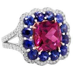 Platinum and 18 Karat Gold Pink Tourmaline Blue Sapphire Diamond Cocktail Ring