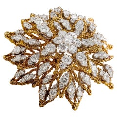 Platinum and 18 Karat Gold Sunburst Design Brooch with Diamonds, circa 1960