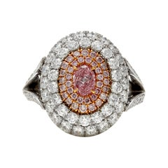 Platinum and 18 Karat Rose Gold Purplish Pink Diamond and Pave Diamond Dome Ring