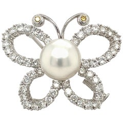 Platinum and 18 Karat White Gold 3.20 Carat Diamond and Pearl Butterfly Brooch