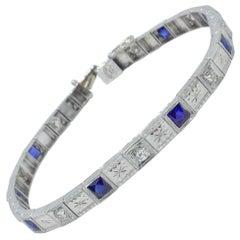 Platinum and 18 Karat White Gold Sapphire and Diamond Bracelet