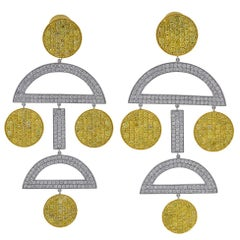 Platinum and 18 Karat Yellow Gold 10.30 Carat Yellow and White Diamond Earrings