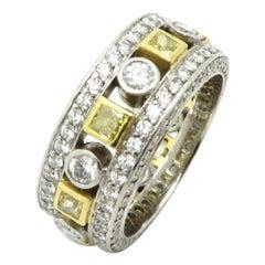 Platinum and 18 Karat Yellow Gold Designer Jack Kelege Yellow Diamond Band Ring