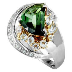 Platinum and 18 Karat Yellow Gold Diamond and Half Moon Green Tourmaline Ring