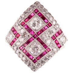 Platinum and 18 Karat Yellow Gold Diamond and Ruby Diamond Shaped Ring