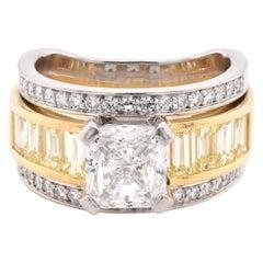 Platinum and 18 Karat Yellow Gold Diamond Engagement Ring
