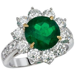 Platinum and 18 Karat Yellow Gold, 2.91 CT Emerald and Diamond Ring