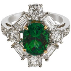 Platinum and 18 Karat Yellow Gold, 2.42 CT Emerald and Diamond Ring
