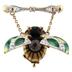 Platinum and 18 Karat Yellow Gold Enamel Beetle Pendant Clock