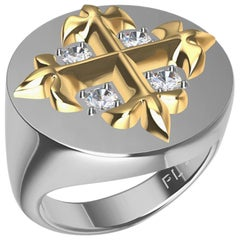 Platinum and 18 Karat Yellow Gold Fleur-di-Lis GIA Diamonds Cross Signet Ring