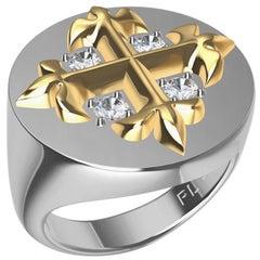 Platinum and 18 Karat Yellow Gold Fleur-di-Lis GIA Diamonds Cross Signet Ring