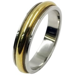 Platinum and 18 Karat Yellow Gold Men's Wedding Band