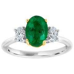 Platinum and 18 Karat Yellow Gold Oval Emerald Diamond Ring 'Center-1.86 Carat'