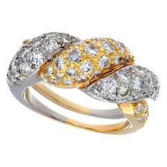 Platinum and 18 Karat Yellow Gold Pavé Diamond Woven Dome Ring