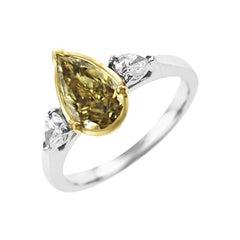 Platinum 18 Karat Yellow Gold Pear Shaped IGI Certified Diamond Engagement Ring