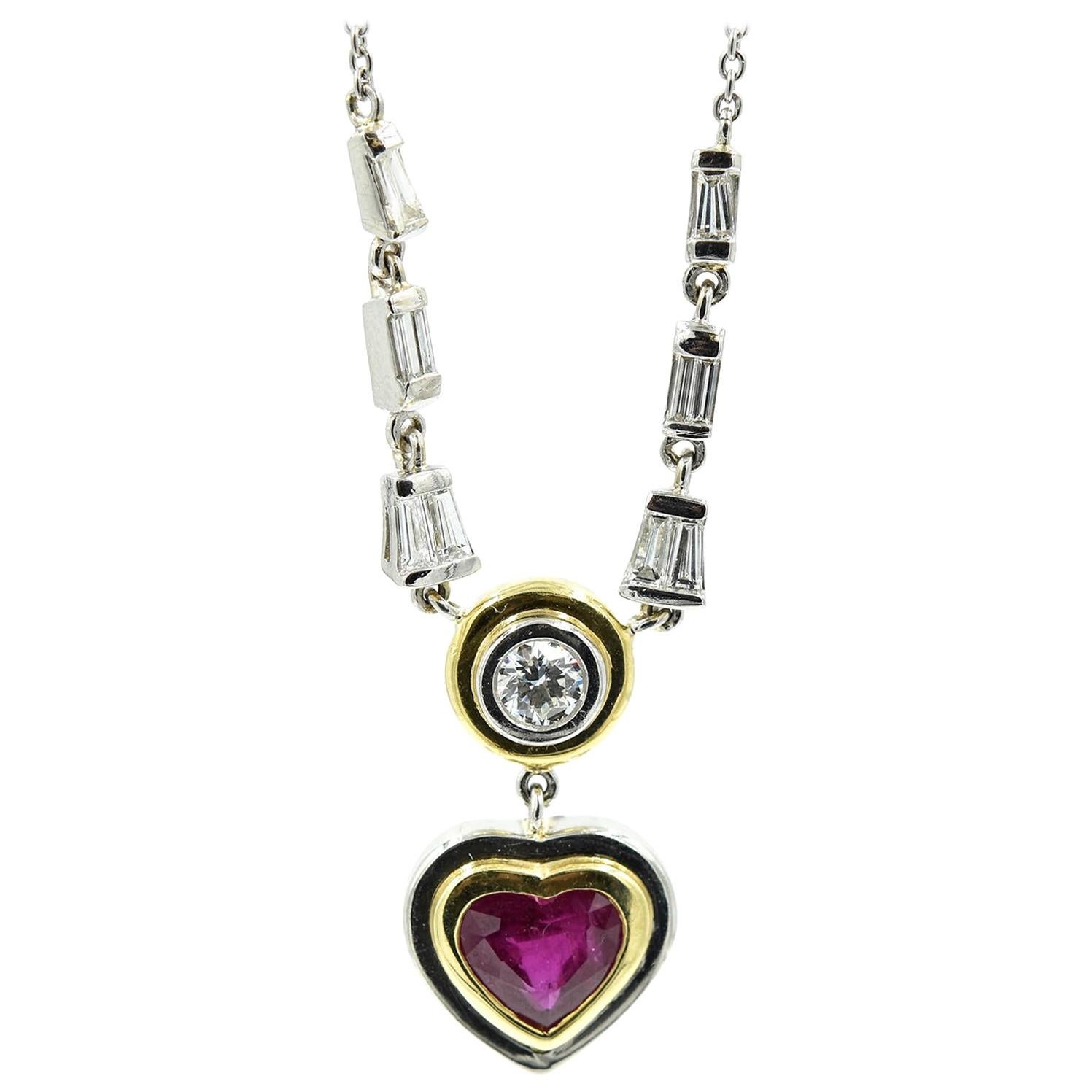 Platinum and 18 Karat Yellow Gold Ruby and Diamond Heart Necklace