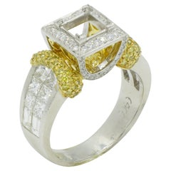 Platinum and 18 Karat Yellow Gold Semi-Mount Ring for a Square Stone Invisible