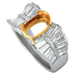 Platinum and 18 Karat Yellow Gold Tapered Baguette Diamond Oval Mounting Ring
