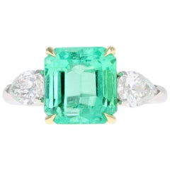 Platinum and 18K 4.16 Carat Colombian Emerald and Diamond Ring