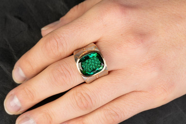 Platinum and 18 Karat Rose Gold Lens Cut Green Tourmaline Ring with Diamonds In New Condition For Sale In Greenville, SC