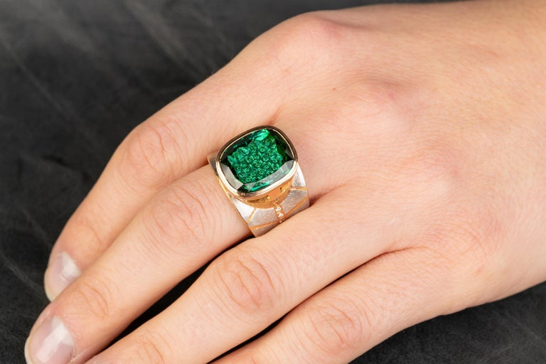 Women's Platinum and 18 Karat Rose Gold Lens Cut Green Tourmaline Ring with Diamonds For Sale