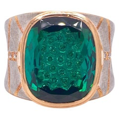 Platinum and 18 Karat Rose Gold Lens Cut Green Tourmaline Ring with Diamonds