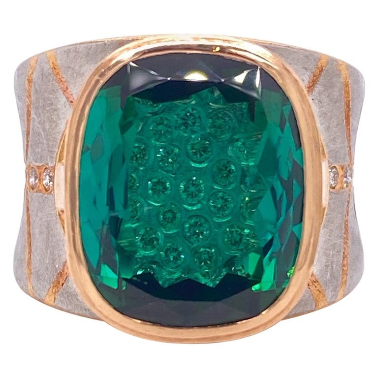 Platinum and 18 Karat Rose Gold Lens Cut Green Tourmaline Ring with Diamonds For Sale