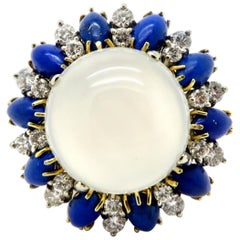 Platinum and 18K Two-Tone Gold Antique Moonstone, Lapis Lazuli and Diamond Ring