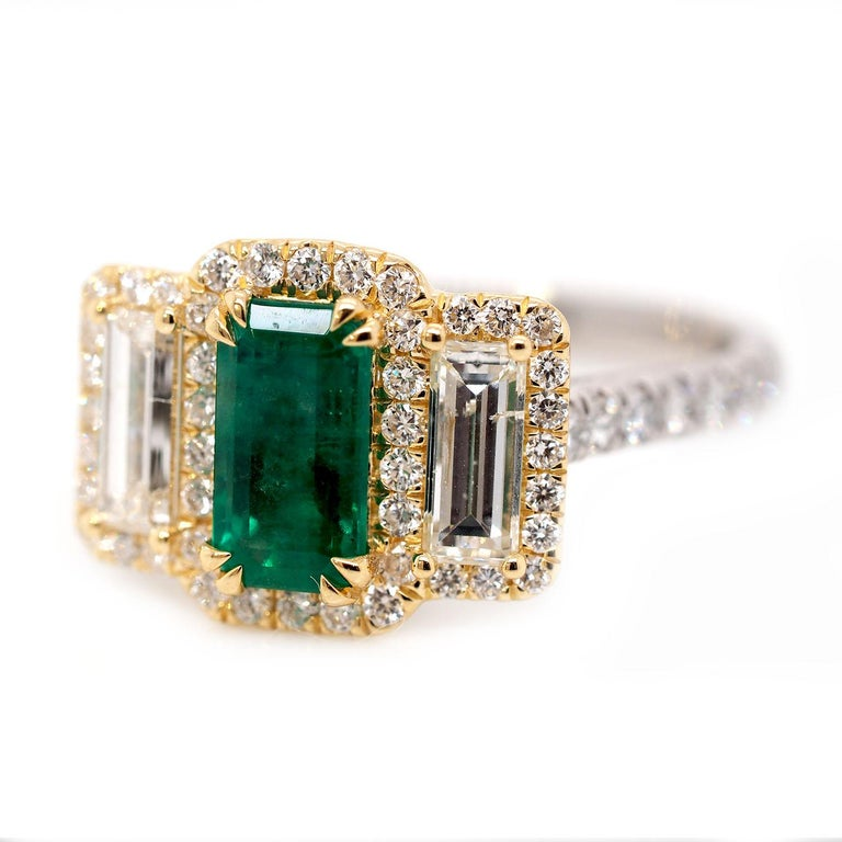 Platinum and 18 Karat Gold 1.06ct Emerald Ring with Baguettes and Round Diamonds 1