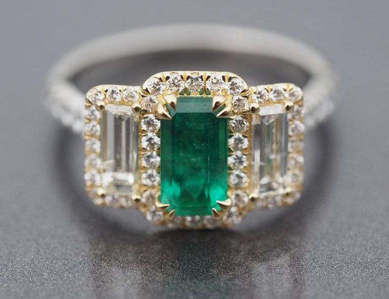 Platinum and 18 Karat Gold 1.06ct Emerald Ring with Baguettes and Round Diamonds 2