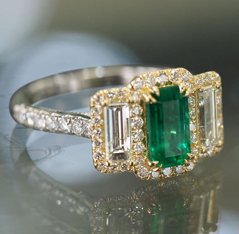Platinum and 18 Karat Gold 1.06ct Emerald Ring with Baguettes and Round Diamonds 3