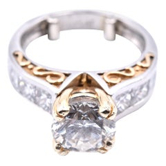 Platinum and 18 Karat Yellow Gold Diamond Engagement Ring