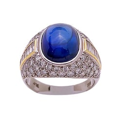 Platinum and 18KT Dome Ring with 6.85Ct. Cabochon Sapphire, and 2.78Ct. Diamonds
