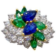 Platinum and 18KT Gold, 2.17Ct. Diamond, 1.13Ct. Sapphire & .89Ct. Emerald Ring