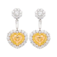 Platinum and 18kt Magnificent Earrings with Fancy Yellow Diamonds