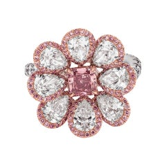 Platinum and 18KT Pink Gold Ring with Pink and White Diamond