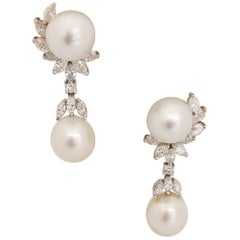 Platinum and 18kt White Gold Earrings with South Sea Pearls and 3.07ct Diamonds