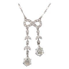 Platinum and 1.90 Carats Diamonds French Antique Necklace